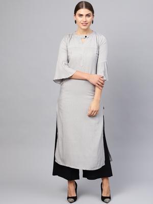 Inddus Grey Rayon Cotton Striped Kurta