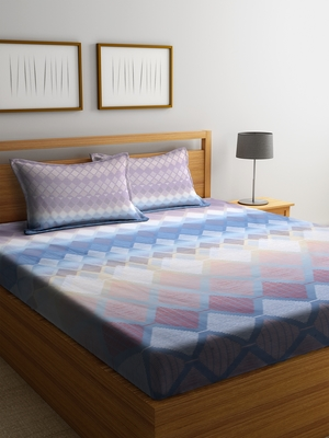 multicolor geometric Queen bedsheet