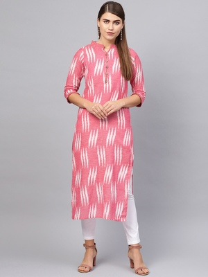 Inddus Pink Cotton Ikkat Kurta