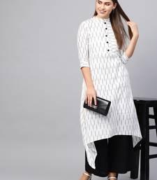 Inddus White & Black Cotton Ikkat Kurta