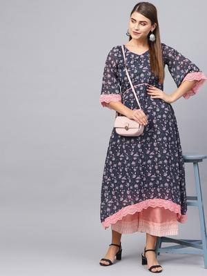 Inddus Navy Blue & Pink Georgette Floral Printed Kurta