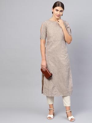 Inddus Beige Cotton Striped Kurta