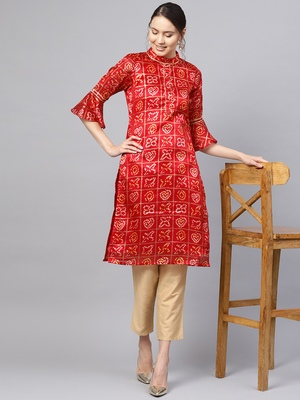 Inddus Maroon Cotton Linen Bandhani Kurta