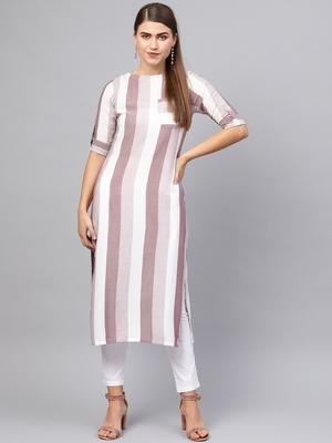 Inddus Purple &  White Rayon Cotton Striped Kurta
