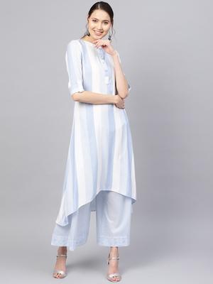 Inddus Blue & White Rayon Cotton Striped Kurta