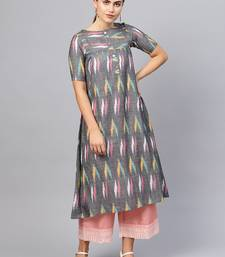 Inddus Multi Cotton Ikkat Kurta