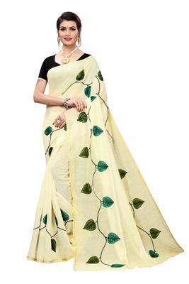 cream printed Chanderi Saree With Banglori Blouse