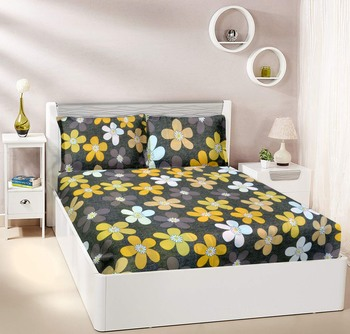 Grey Floral Double bedsheet