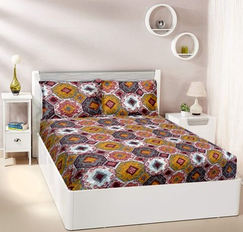 Brown Floral Double bedsheet