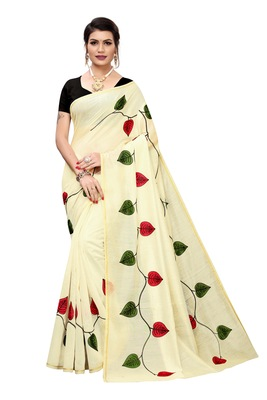 CREAM PRINTED CHANDERI SAREE WITH BANGLORI BLOUSE