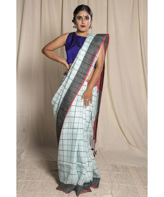 white woven linen saree with blouse