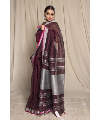 brown woven linen saree with blouse