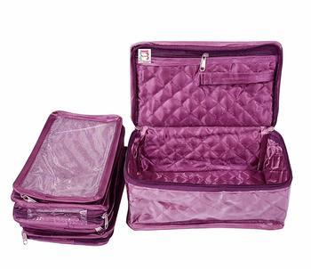 atorakushon® Satin Makeup Pouch Cosmetic Necklace Earrings Jewellery Vanity Organiser For Women's (Purple)