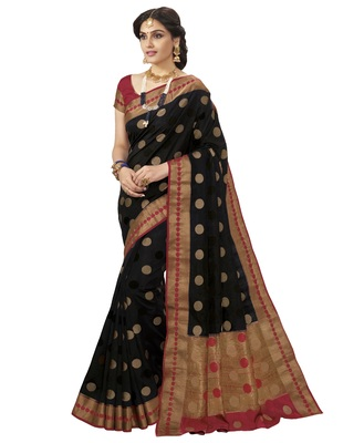 Black woven raw silk saree with blouse