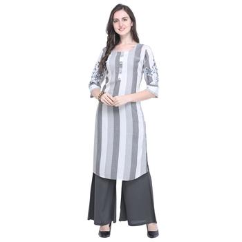 Light-grey embroidered rayon kurtas-and-kurtis