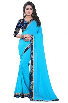 Light blue plain georgette saree with blouse