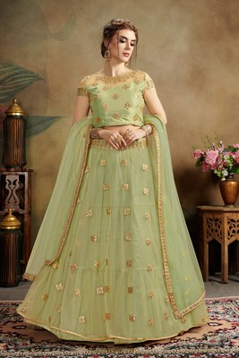 green embroidered net semi stitched lehenga choli
