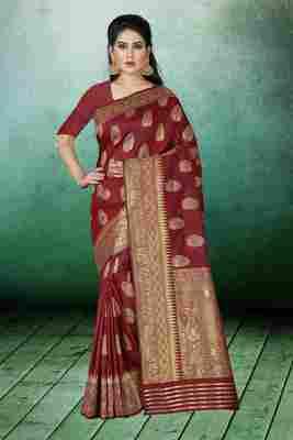 Maroon Woven Kanchipuram Silk Saree With Blouse