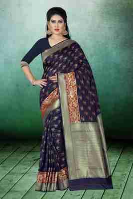 Blue woven kanchipuram silk saree with blouse