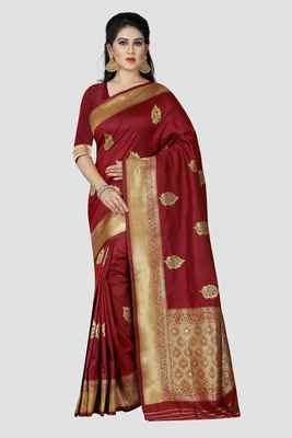 Maroon woven kanchipuram silk saree with blouse