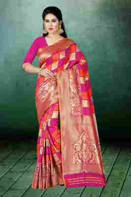 Multicolor woven kanchipuram silk saree with blouse