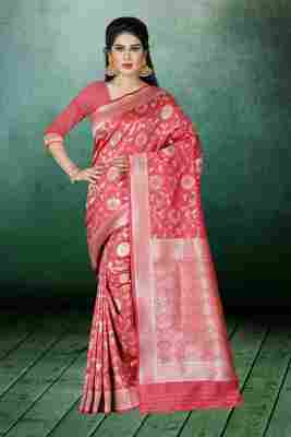 Baby pink woven kanchipuram silk saree with blouse