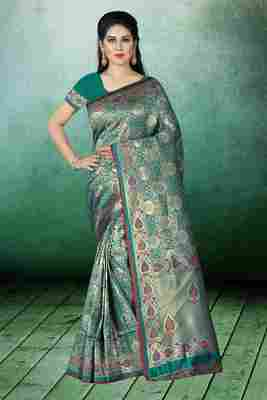 Light turquoise woven kanchipuram silk saree with blouse