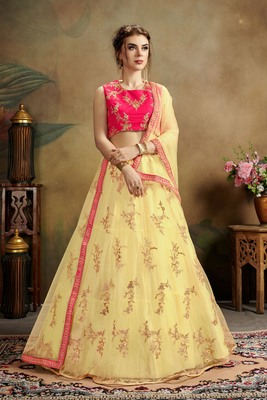 Yellow embroidered net semi stitched lehenga choli