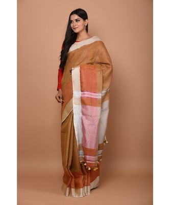 Brown Shade Handwoven Linen saree with blouse