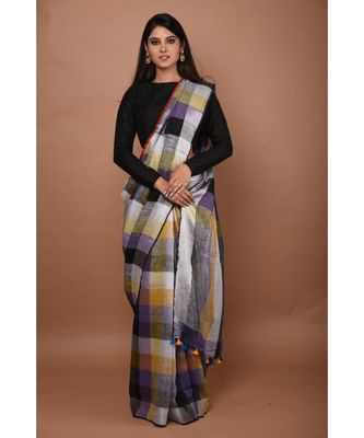 Multicolour Handwoven Checkered Linen saree with blouse