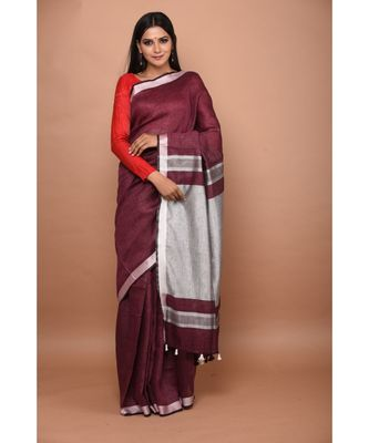 Wine Shade Handwoven Linen saree with blouse