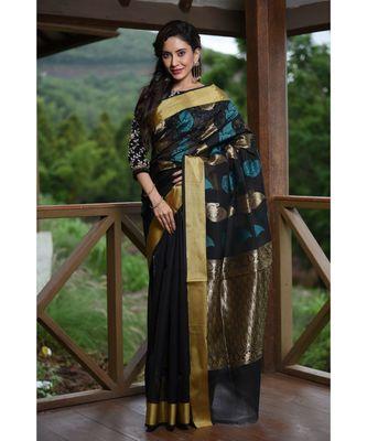 Black Shade Banarasi Chanderi Silk Handwoven saree with blouse