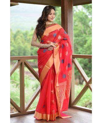 Red Shade Banarasi Chanderi Silk Handwoven saree with blouse