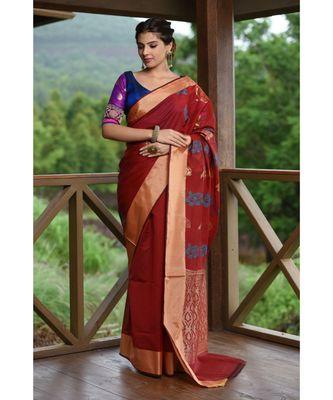 Maroonish Red Shade Banarasi Chanderi Silk Handwoven saree with blouse