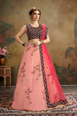 pink embroidered net semi stitched lehenga choli