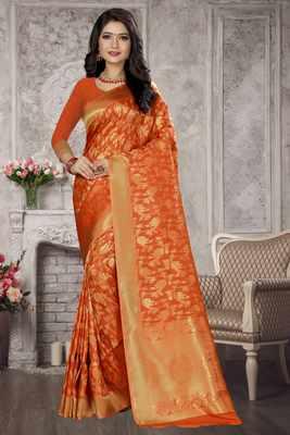 Orange woven kanchipuram silk saree with blouse