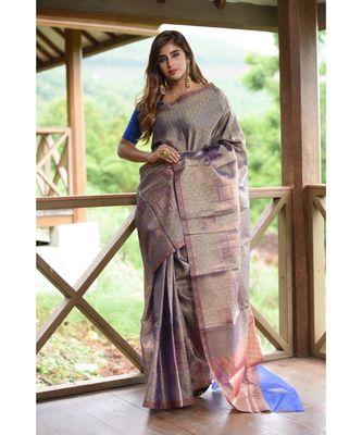 Blue Shade Banarasi Organza Handwoven saree with blouse
