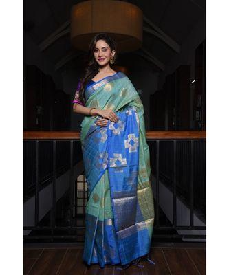 Green Shade Banarasi Tussar Silk Handwoven saree with blouse