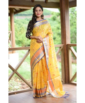 Yellow Shade Banarasi Tussar Silk Handwoven saree with blouse