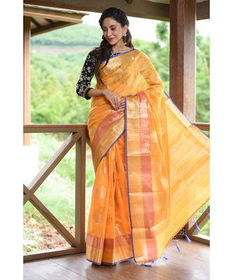 Yellow Shade Banarasi Tussar Silk Handwoven saree with blouse