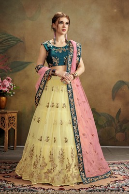 Yellow embroidered net semi stitched lehenga choli