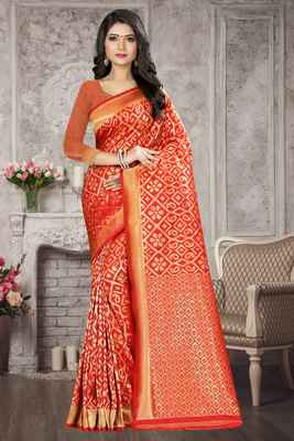 Peach woven kanchipuram silk saree with blouse
