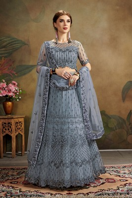 grey embroidered net semi stitched lehenga choli