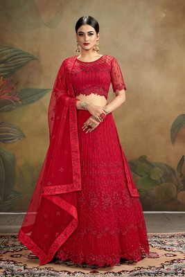 Red embroidered net semi stitched lehenga choli