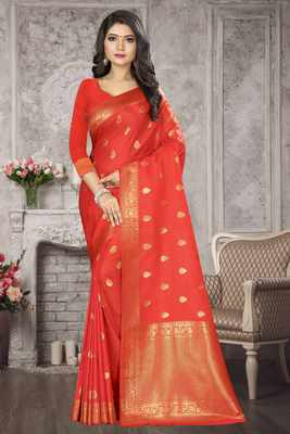 Peach Woven Kanchipuram Silk Saree With Blouse