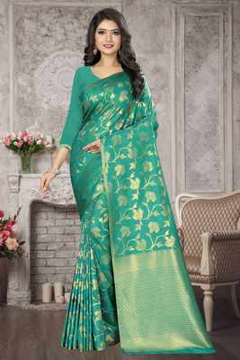 Light turquoise woven kanchipuram silk saree with blouse