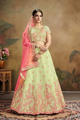 green embroidered organza semi stitched lehenga choli