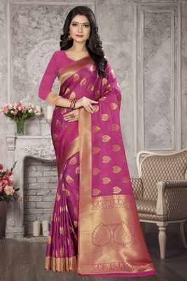 Purple woven kanchipuram silk saree with blouse