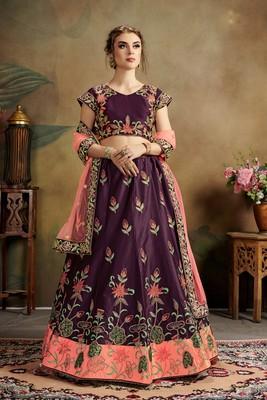 purple embroidered satin semi stitched lehenga choli