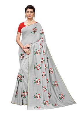 Grey Embroidered Chanderi Saree With Banglori Blouse
